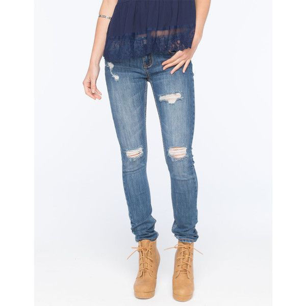 Rsq Ibiza Womens Skinny Jeans ($20) ❤ liked on Polyvore featuring jeans, medium blast, destructed jeans, skinny jeans, destructed skinny jeans, destroyed jeans and destroyed skinny jeans