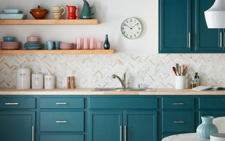 Best Colorful Kitchen Cabinet Transformation Teal Kitchen 400 x 300