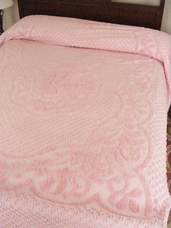 anniversary sale 50s vintage chenille bedspread by