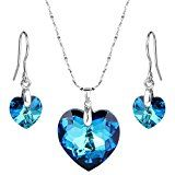 "#6: EleQueen 925 Sterling Silver ""Heart of Ocean"" Bridal Necklace Earrings Set Adorned with Swarovski Crystals 