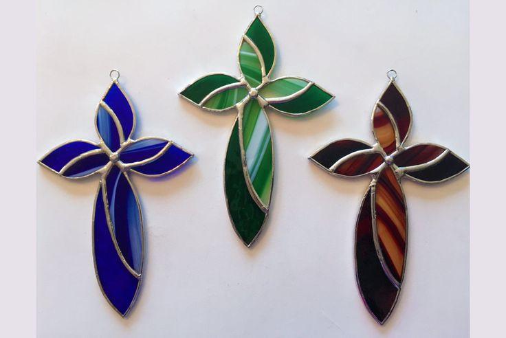Handmade Stained Glass Cross Suncatcher by QTSG on Etsy