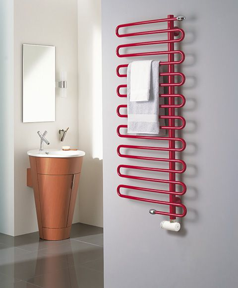 Red hot towel rails from Simply Radiators.