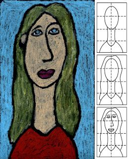 Self portrait in the style of Modigliani. Art Projects for Kids blog.