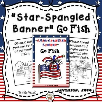 "Use this ""Star-Spangled Banner"" Go Fish game as a resource to help teach your students the lyrics to our national anthem in a fun way.  It works great as a workstation for your younger students.Each card contains a lyric from the ""Star-Spangled Banner"" along with an image to help students better understand what the words really mean."