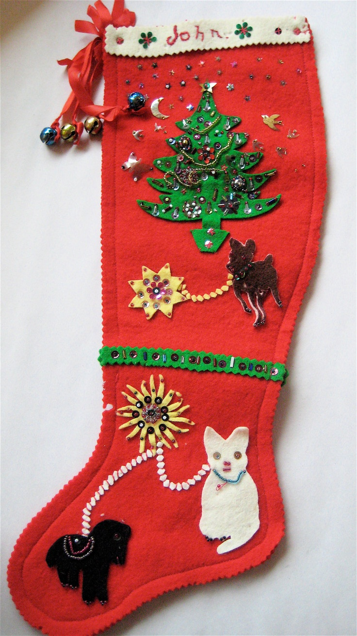 Vintage christmas decorations 1950s - Vintage Felt Stocking 1950s Beaded Sequenced For John