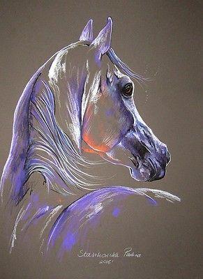MAGIC-HORSE-edition-Arabian-stallion-12-6-x17-7-ORIGINAL-PASTEL-PAINTING