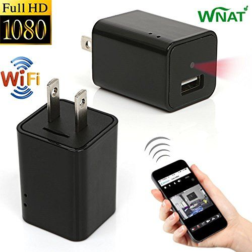 Mini 1080P WIFI HD Hidden Spy Camera Plug Wall Charger Video Recorder Motion Detection Wireless Real-time Remote See Live Nanny Cam  1. The world's smallest WIFI HD Spy Hidden Camera Charger. You can monitor your house or store on your phone or computer anywhere in the world (no distance limit) at any time. It is also the best product for a nanny camera.2. Support a perfect motion detection function (without SD card). When you turn on the motion detection mode, the camera can captur..