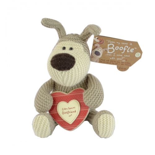 Boofle small plush holding heart plaque extra special girlfriend