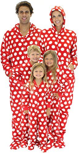 SleepytimePjs Family Matching Red Polka Dot Fleece One Piece Footed Pajamas (Red…