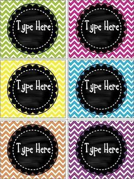 "Editable Chalkboard and Chevron Labels  contains 6 blank Chalkboard and Chevron labels.Size of the labels are:3.23 ""  * 3.65"""