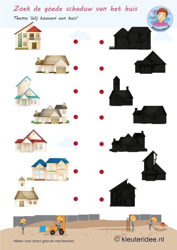 Zoek de goede schaduw bij het huis, thema huizen bouwen, kleuteridee, free printable.