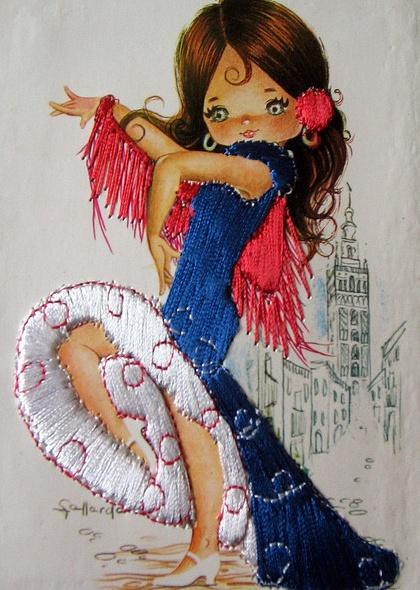 ~Gypsy lady op vintage borduurkaart~