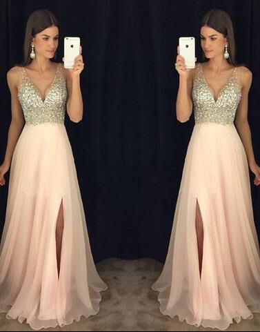 A-line V-neck  Beaded Bodice Blush Pink Chiffon Prom Dresses for 2017 Spring Pageant,APD1922