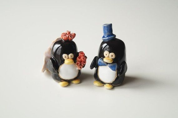 Penguin Couple, Wedding Cake Topper, Love Bird, Wedding Cake Decor, Cake Topper by Her Moments, Ceramics and Pottery