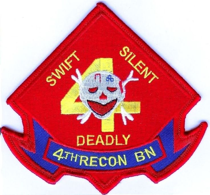 USMC 4th Recon Battalion PATCH Marines ! Diamond SKULL Swift - Silent - Deadly!