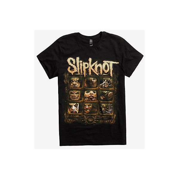 Slipknot Video Screens T-Shirt (€15) ❤ liked on Polyvore featuring tops, t-shirts, cotton tees, screen tee shirts, logo design t shirts, screen t shirt and cotton t shirts