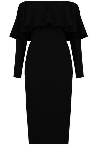 Gemma Off The Shoulder Frill Trim Black Midi Dress - LadyVB   s.r.o - 3