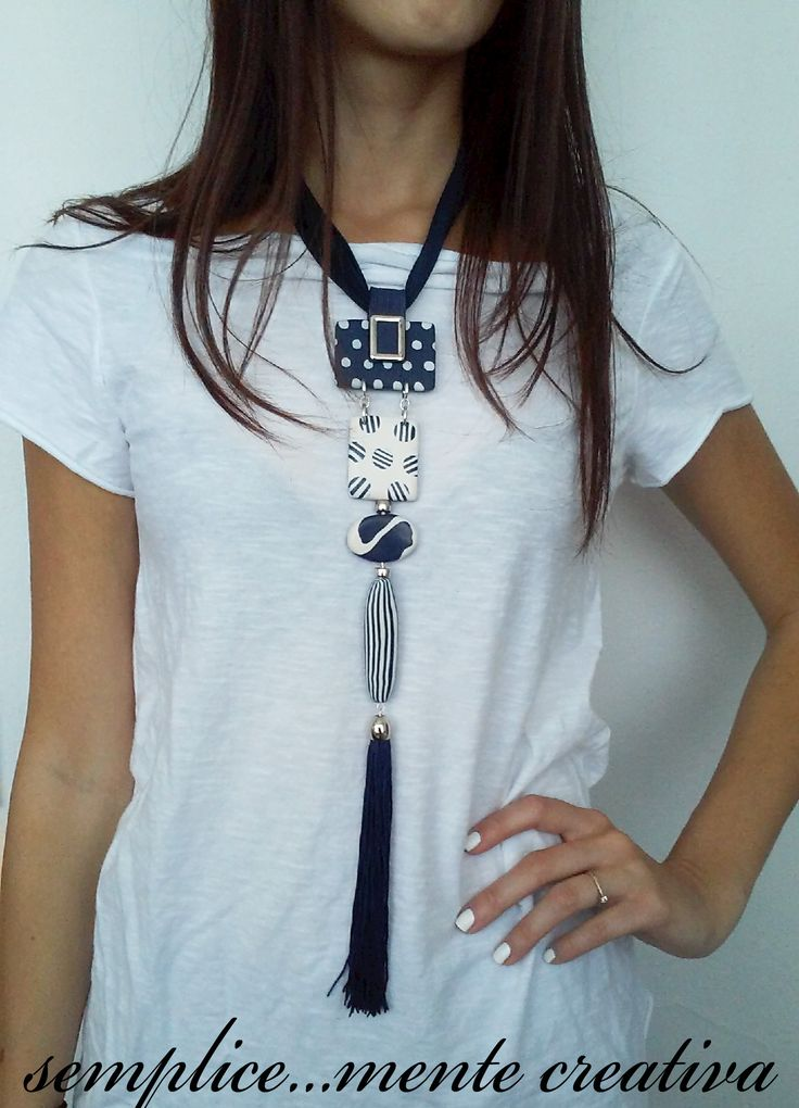 New polymer clay  vertical necklace in blue and ivory.