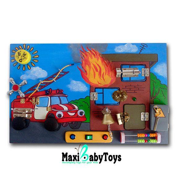 Busy Board Fire truck Activity Board Sensory