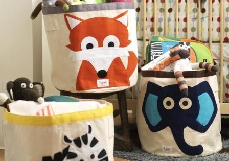 Cestas, cajas y bolsas para guardar juguetes de 3 sprouts.