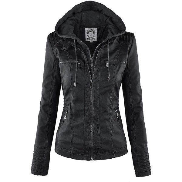 CTC Womens Faux Leather Denim Motorcycle Jacket ($30) ❤ liked on Polyvore featuring outerwear and jackets