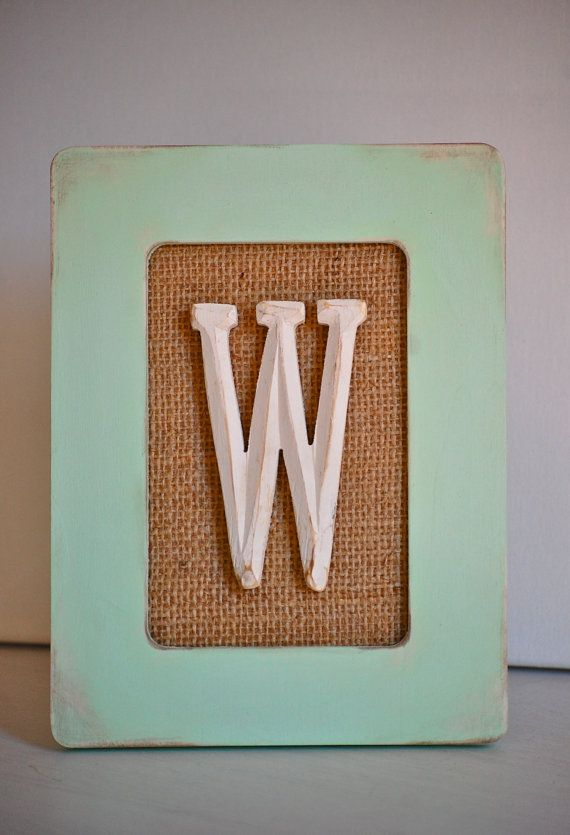 Rustic Distressed Wood Frame With Burlap And Letter