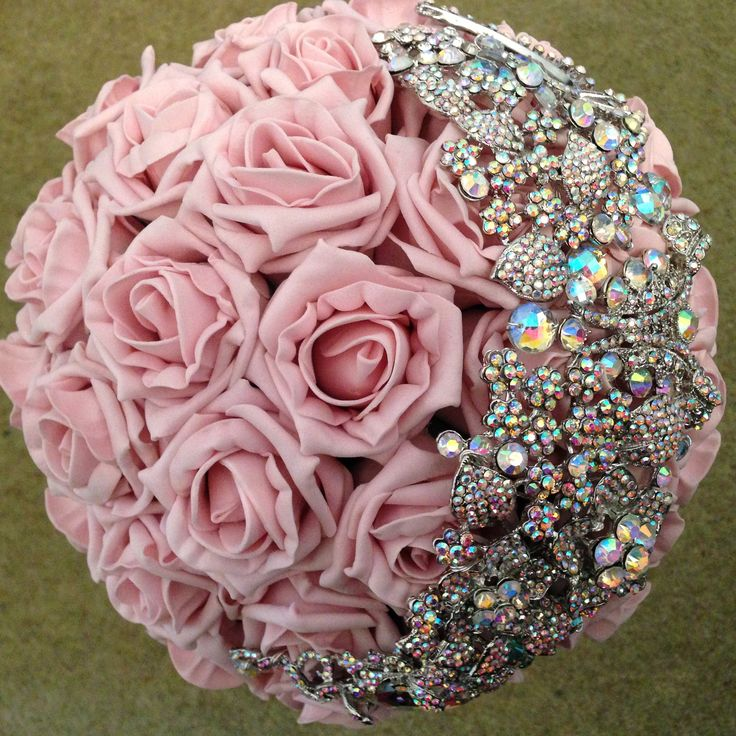 Vintage pink and half brooch bouquet.