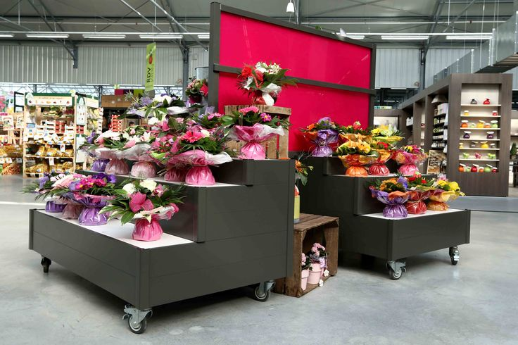 Jardi Leclerc | Mobilier standard, présentation fleuristerie, merchandising floral, bouquets de fleurs | Groupe Lindera