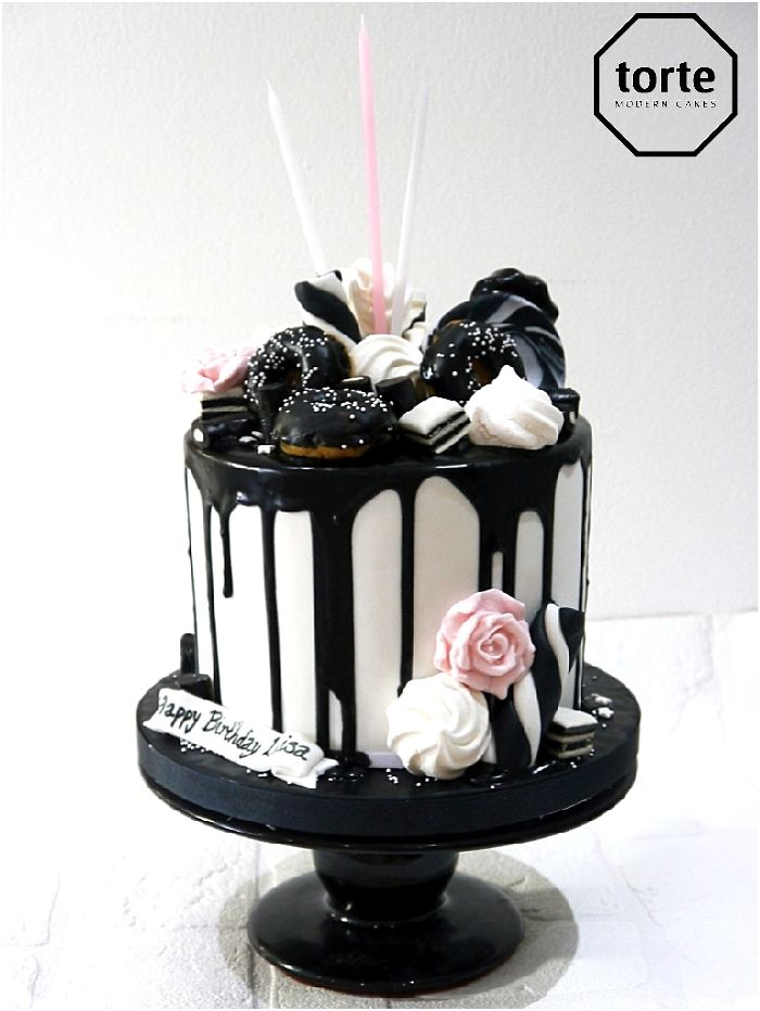 Black and white drippy birthday cake #birthday #cake #drippy #blackandwhite #website