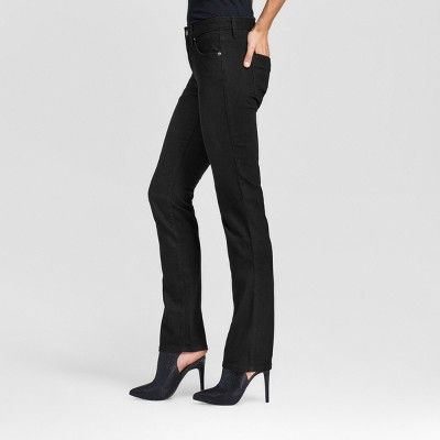 Women's Mid-rise Straight Leg Jeans (Curvy Fit) - Mossimo Black 18 Long, Variation Parent