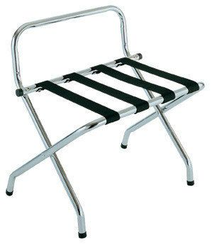 Commercial grade chrome coated foldable luggage rack with strong heavy duty strapping. Our racks have been constructed from high quality tubular steel for added strength, however remain light and are easy to store.  Perfect for any size accommodation and helps prevent guests scratching your good tables and benches.  Luggage racks will go a long way to assisting with your AAA grading.   All luggage racks come with a reassuring 3yr manufacturers warranty.  Dimensions: 620mm x 715mm x 620mm