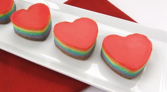 rainbow cheesecake hearts