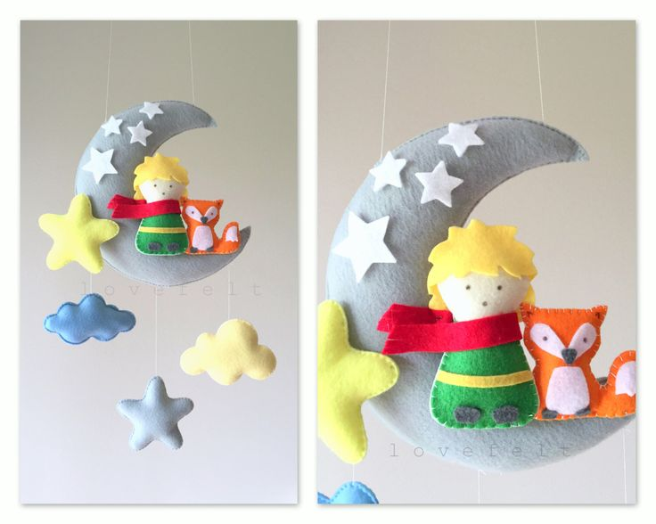 Baby mobile - The Little Prince mobile - Moon mobile - Le Petit Prince - Crib…