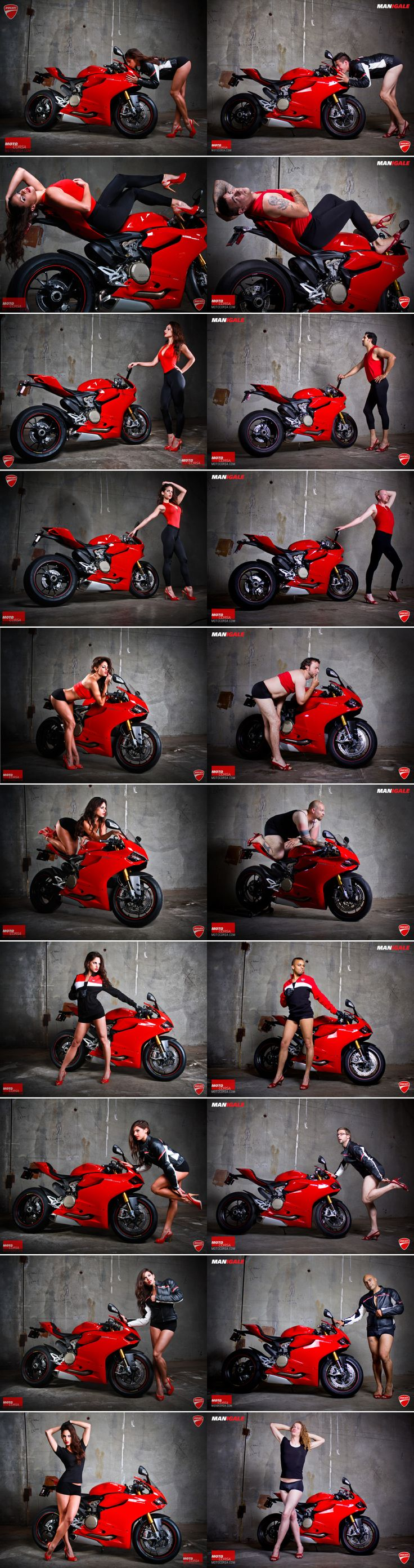 Ducati ad parody - Psst! It's the bike that's for sale. But when models seductively languish over motorcycles, prospective customers may forget that. Arun Sharma, the general manager of a Ducati dealership in Portland, Oregon, understands this truth. That's why commissioned a series of images of men and women flaunting their bodies on the Ducati 1199 Panigale sportsbike. The women are beautiful. The men are…well, let's just say that they have excellent personalities.