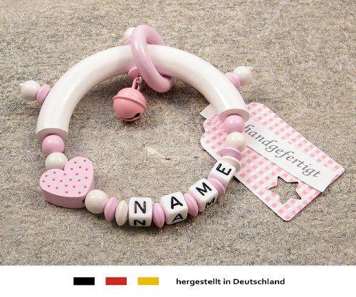 Baby Greifling Beißring halbrund mit Namen | individuelles Holz Lernspielzeug als Geschenk zur Geburt & Taufe | Mädchen Motiv Herz in rosa   http://www.geschenkewebshop.info/produkt/baby-greifling-beissring-halbrund-mit-namen-individuelles-holz-lernspielzeug-als-geschenk-zur/