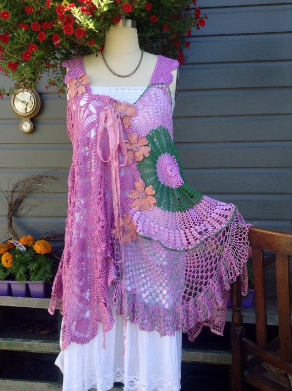 Luv Lucy Crochet Tunic short dress boho style Violet daisies  on Etsy, $275.00