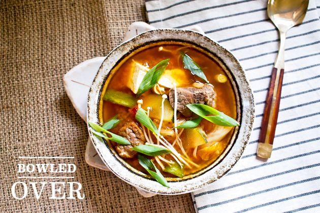 A Quick Kimchi Beef Tofu Soup