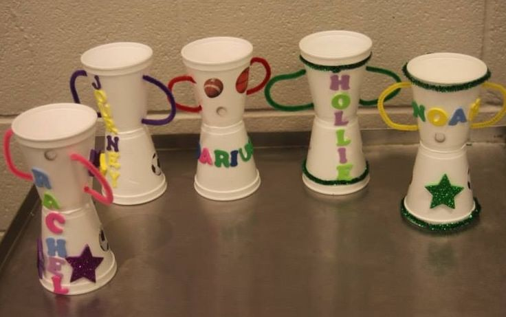 Trophies – made with styrofoam cups, pipe cleaners, foam stickers. Cute sports craft!