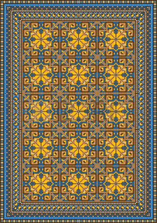 Design for variegated carpet with brown and yellow tones