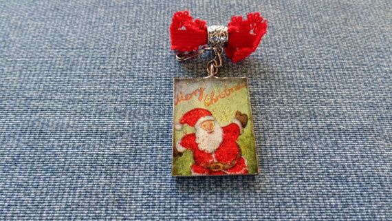 Mery Christmas brooch Santa Claus brooch by ArtisticBreaths