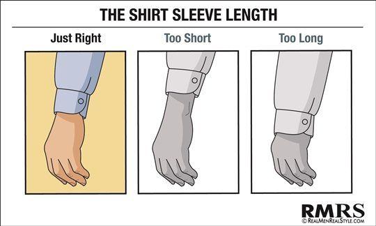 If a jacket is worn, about a half-inch of shirt cuff should show beyond the end of the jacket sleeve.