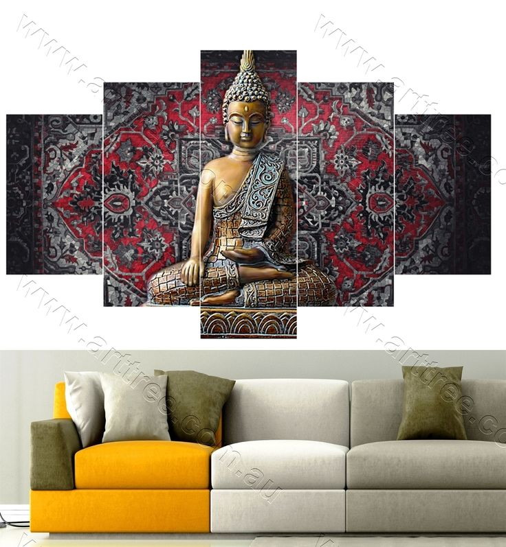 Traditional Buddha 5 panel canvas print Australia #wallart #artforsale #buddha