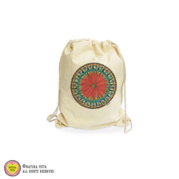 Mandala organic gymsack-yoga mandala gym sack-zen by naturapicta