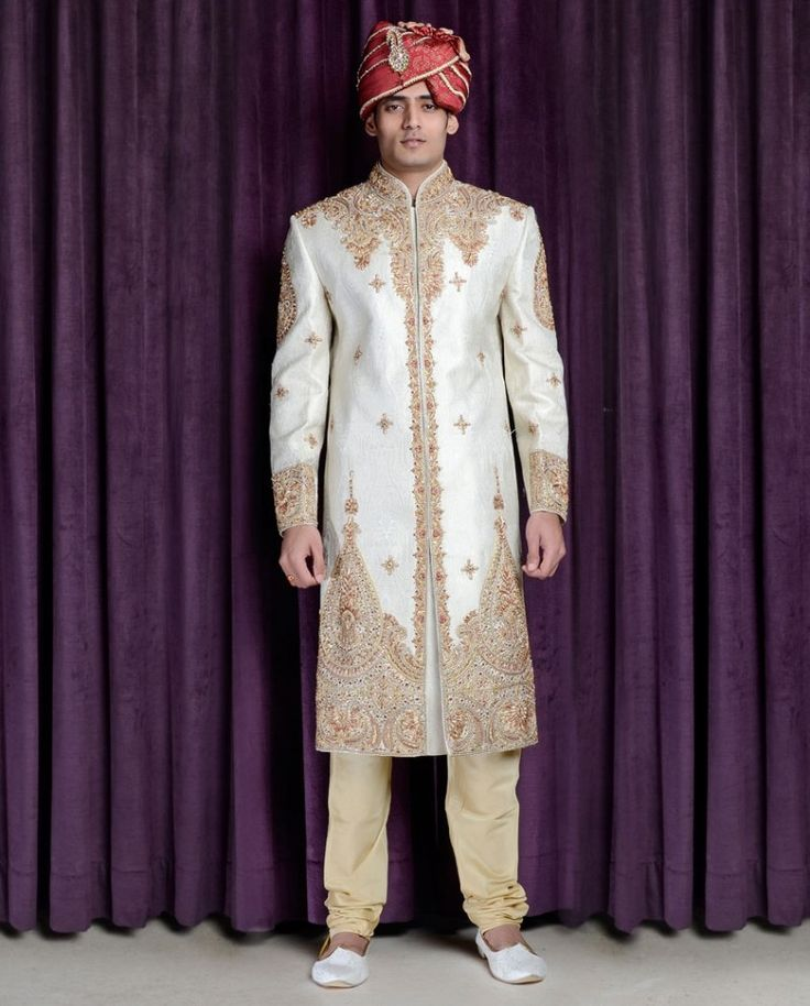 Exclusively.In  Pearl White Sherwani Set with Bejewelled Yoke