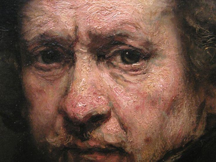 Rembrandt - zelfportret, overzichtstentoonstelling 'Late Rembrandt' Rijksmuseum Amsterdam. April 2015.