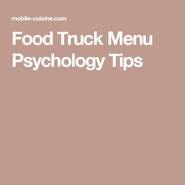 Food Truck Menu Psychology Tips