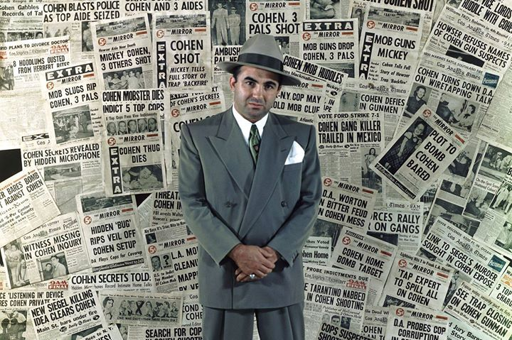 #Gangster Mickey Cohen standing amongst the front pages of newspapers that helped make him the city's' most infamous citizen (1960) [2197  1463] #history #retro #vintage #dh #HistoryPorn http://ift.tt/2f7fLmd