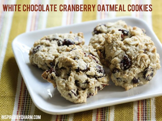 White Chocolate Cranberry Oatmeal Cookies | Desserts ...