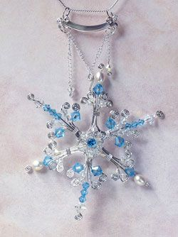 Bead and Wire Snowflake Jewelry Tutorials - The Beading Gem's Journal: Bead and Wire Snowflake Jewelry Tutorials - The Beading Gem's Journal