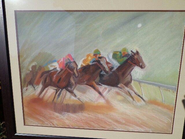 Racehorses in pastel -Linda